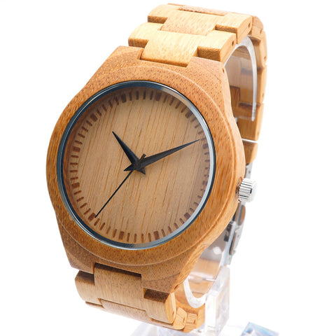 Classy - Men's Bamboo Wood Analog Wristwatch - Subtle Fit
