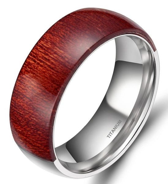 Politi - 8MM Mahogany Wood Inlay Titanium Comfort Fit Ring - Subtle Fit