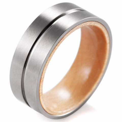 Incontedi - 8MM Wood Inner Band with Groove Titanium Ring - Subtle Fit
