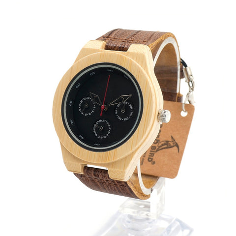 Kilomery - Men's Bamboo Wood, Leather Band, Analog Wristwatch