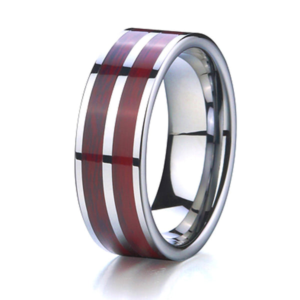 Mossere - 8MM Wood Inlay Tungsten Carbide Comfort Fit Ring - Subtle Fit