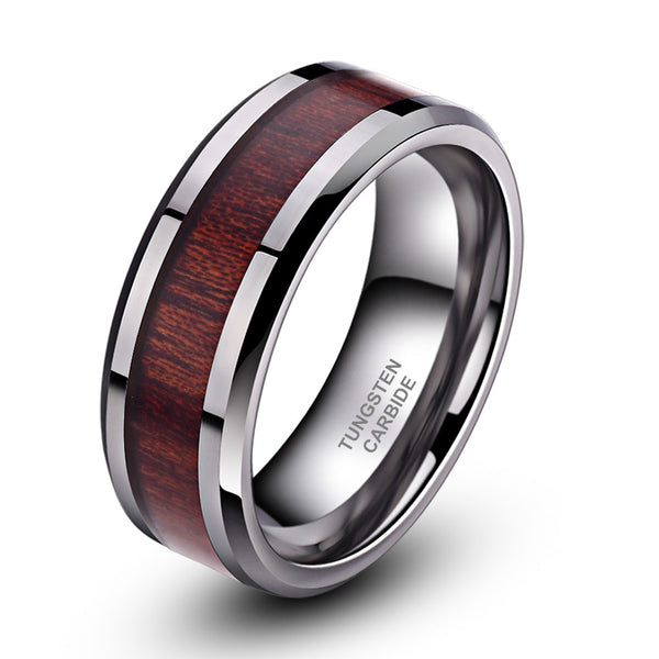 Giore - 8MM Koa Wood Inlay Tungsten Carbide Comfort Fit Ring - Subtle Fit