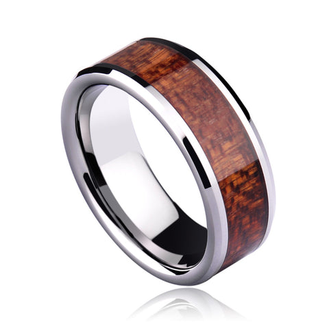 Comunite - 8MM Koa Wood Inlay Polished Tungsten Comfort Fit Ring - Subtle Fit