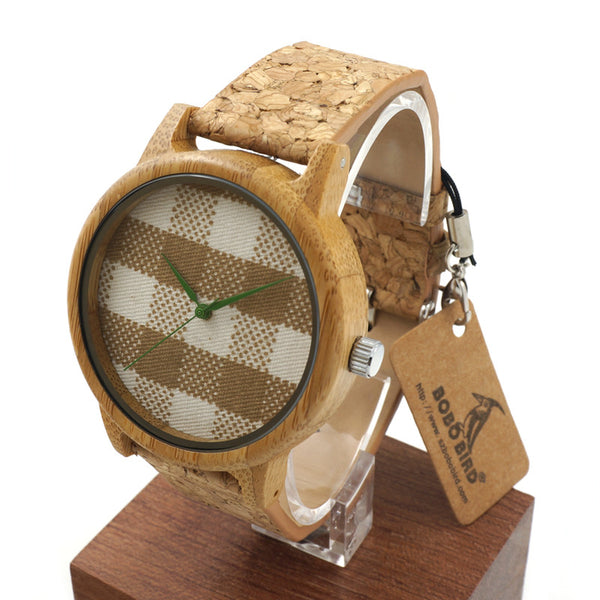 Checkered Bird - Men's Wood, Wood Grain Band, Analog (No Dial) Wristwatch - Subtle Fit