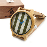 Green Stripes - Men's Bamboo Wood, Wood Grain Band, Analog (No Dial) Wristwatch - Subtle Fit