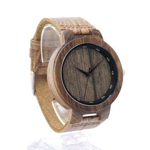 Stimulate - Men's Wood, Leather Band, Analog (No Dial) Wristwatch - Subtle Fit
