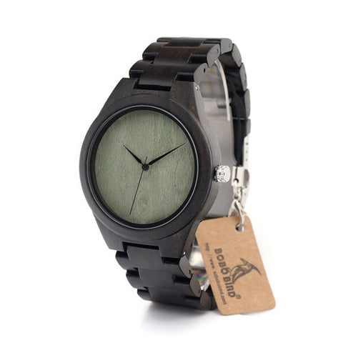 Dark Greenie II - Men's Bamboo Wood, Analog (No Dial) Wristwatch - Subtle Fit