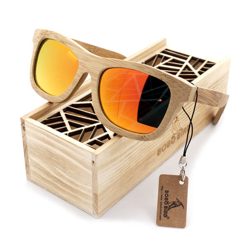 Dustrike II - Unisex Red Sandal Wood Mirrored Square Sunglass - Subtle Fit