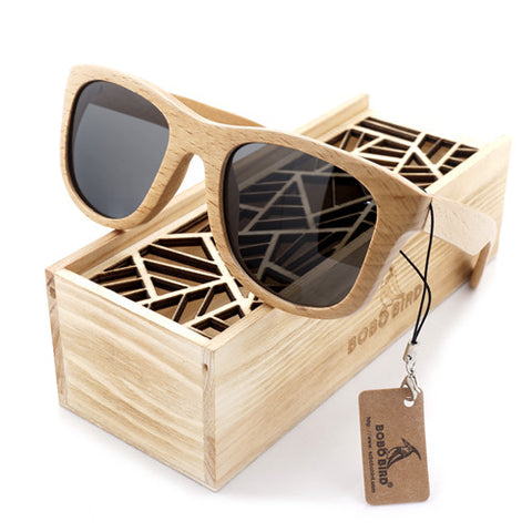 Dustrike - Unisex Bamboo Wood Polarized Square Sunglass - Subtle Fit