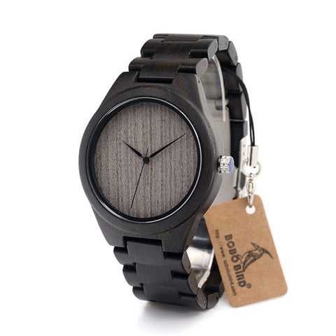 Black Bird II - Men's Black Wood Analog (No Dial) Wristwatch - Subtle Fit