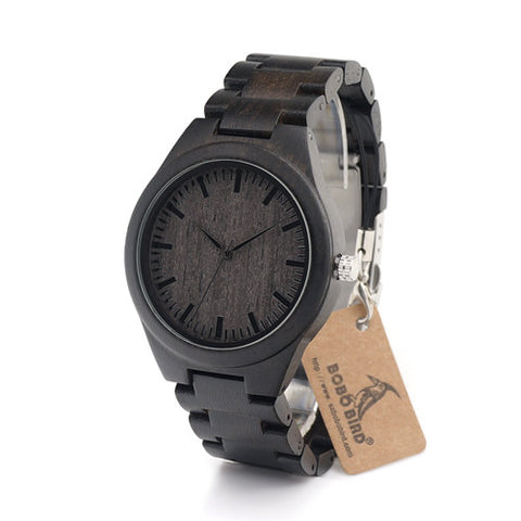 Black Bird - Men's Black Wood Analog Wristwatch - Subtle Fit