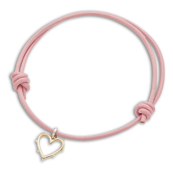 Inspire Pink Leather Heart Charm Bracelet