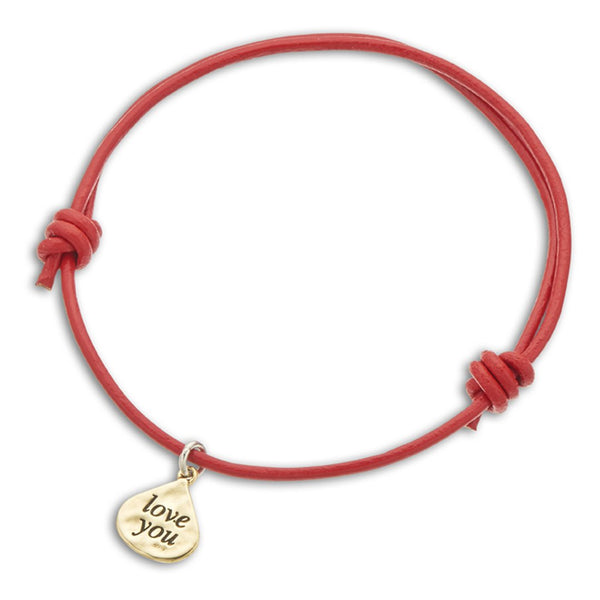 Inspire Red Leather Love You Charm Bracelet