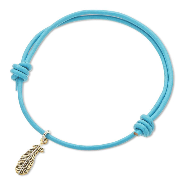 Inspire Aqua  Leather Feather Charm Bracelet