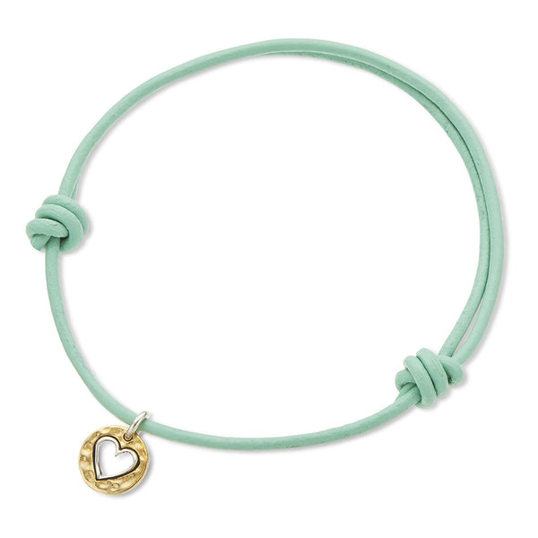 Inspire Mint Leather Heart Charm Bracelet