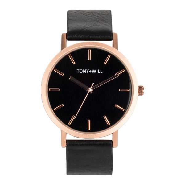 Tony and Will Matte Rose Gold and Black Watch