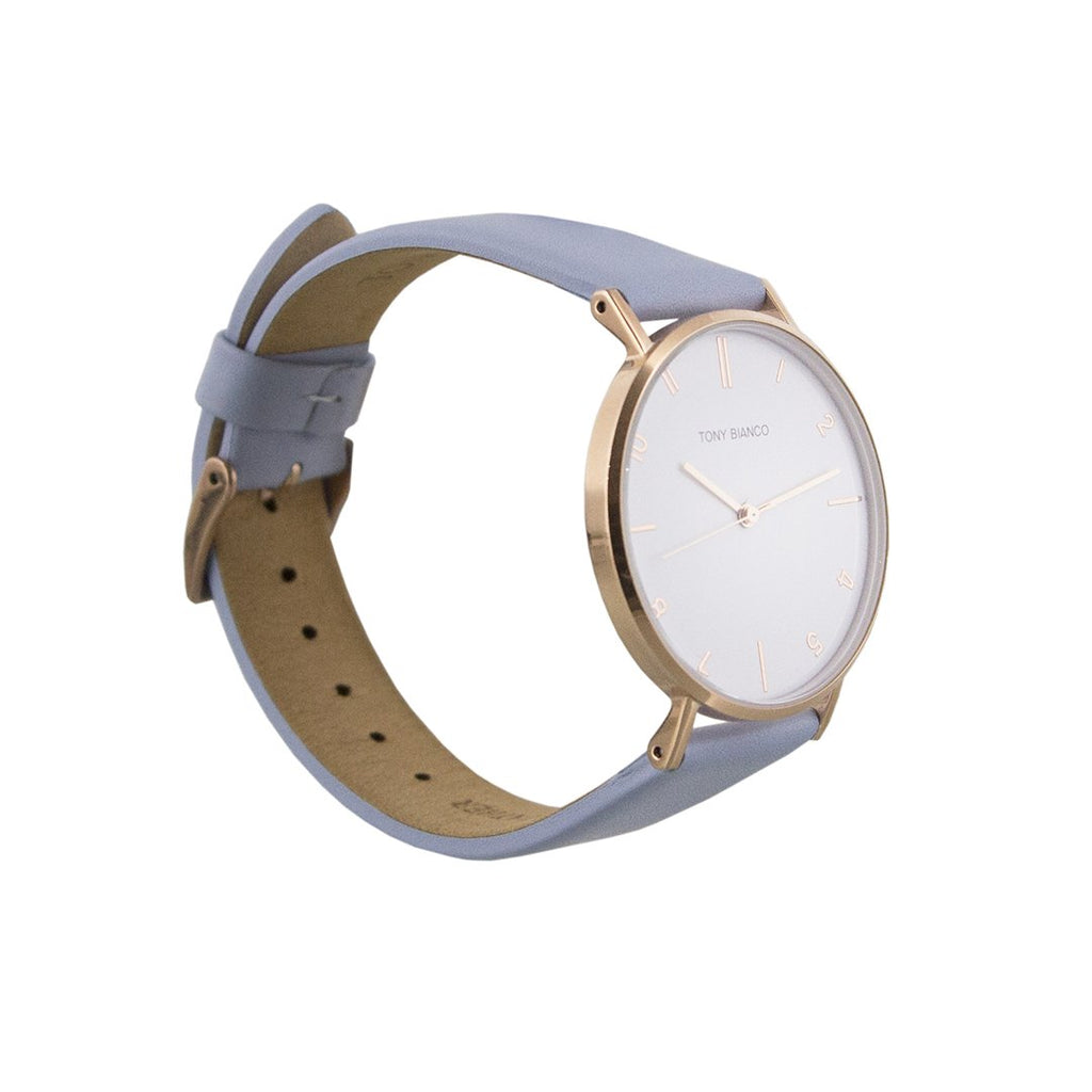 Tony Bianco Wesley Powder Blue, Polished Rose Gold and White Watch (smaller style)