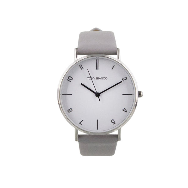 Tony Bianco Wesley Grey, Polished Silver and White Watch (smaller style)