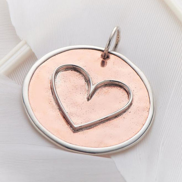 Copper and Sterling Silver Heart Charm