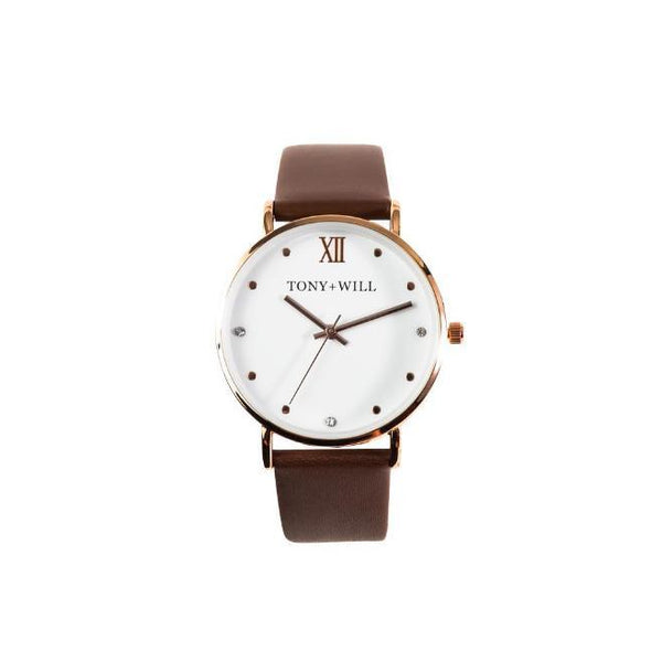 Tony + Will Jewel Tan, Rose Gold and White Watch