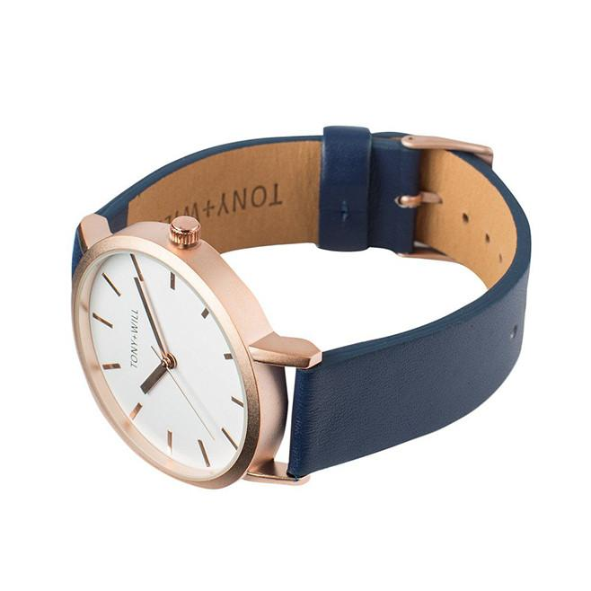 Tony and Will Navy and Rose Gold Watch