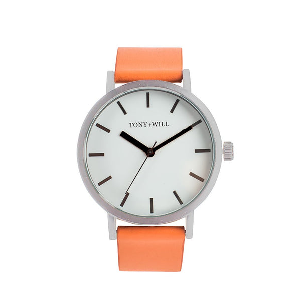 Tony + Will Orange, White and Black and Polished Silver Watch