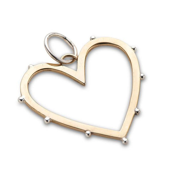 Outline Love Heart Charm with Silver Detail