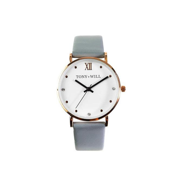 Tony + Will  Jewel Grey and Rose Gold Watch ( smaller dial)
