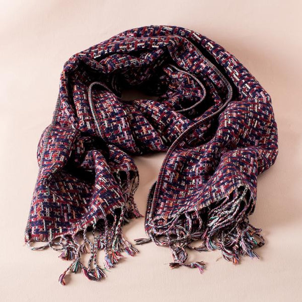 The Ariza Boucle Burgundy + Navy Woven Scarf