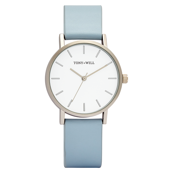 Tony + Will Baby Blue, White and Silver Watch
