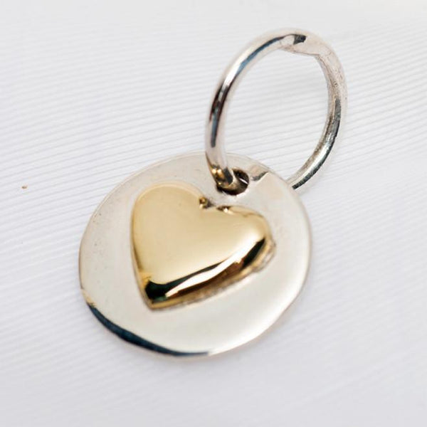 Sterling Silver and Brass Love Charm