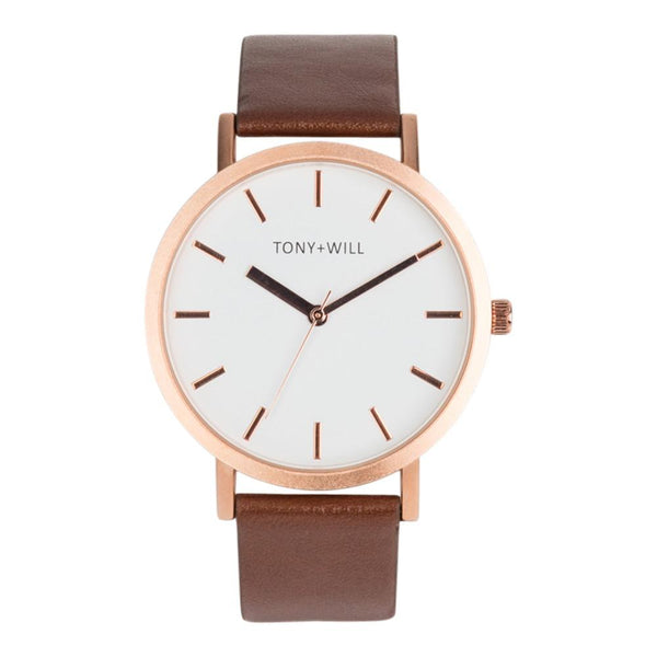 Tony + Will White, Rose and Tan Watch