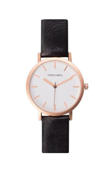 Tony + Will Black, White and Matte Rose Gold Watch
