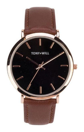 Tony + Will Tan, Black  and Polished Rose Gold Watch