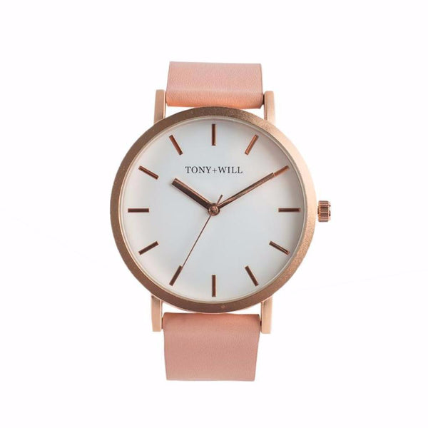 Tony + Will Peach, Matte Rose Gold +  White Watch