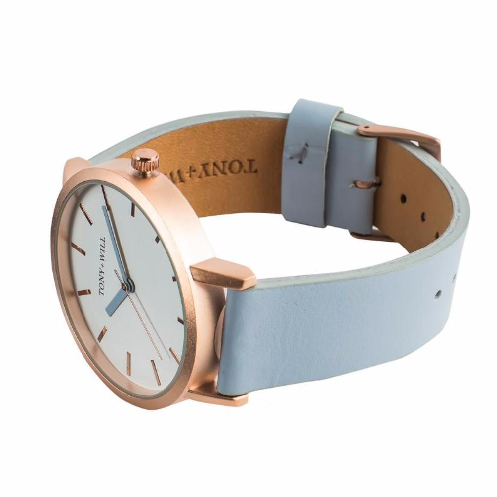 Tony + Will Powder Blue and Matte Rose Gold Watch