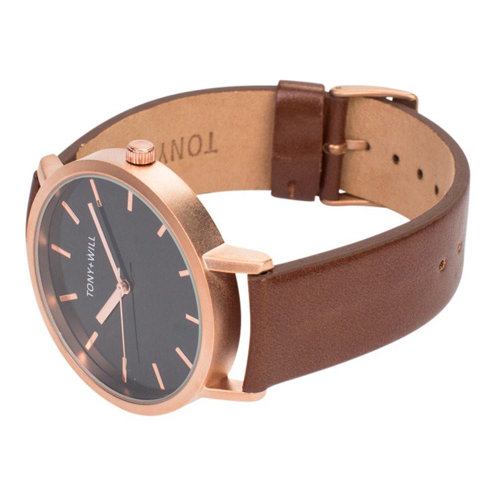 Tony + Will Black and Matte Rose and Tan Watch