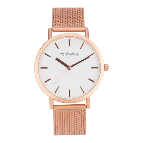 Tony + Will Rose Gold Matte Mesh Watch