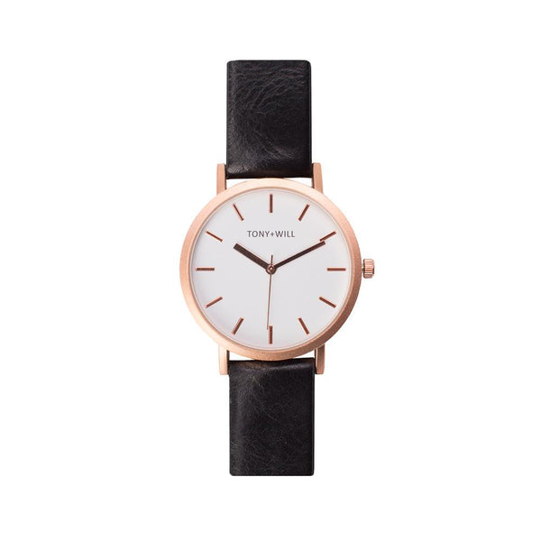 Tony + Will White, Matte Rose Gold and Black Gold Watch