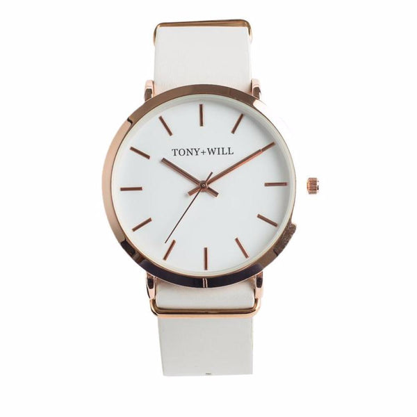 Tony + Will White and Polished Rose Gold Watch