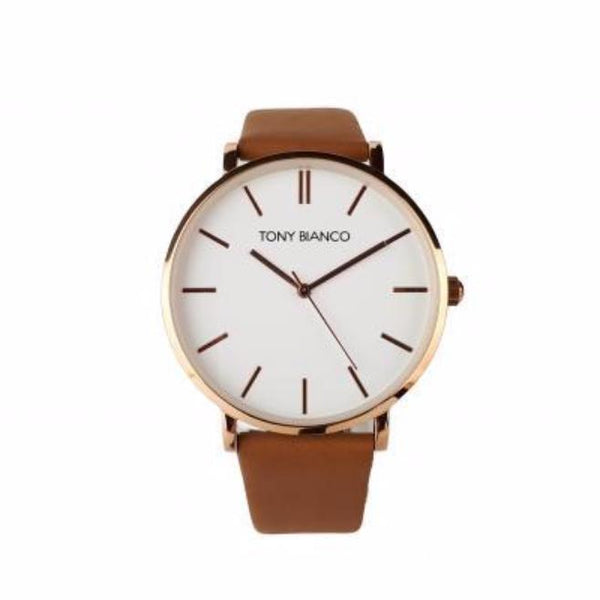 Tony Bianco Williams Tan, White and Polished Rose Gold Watch
