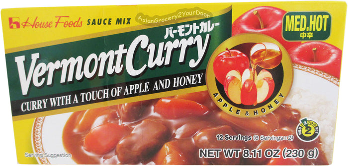 House Foods - Vermont Curry Medium Hot Sauce Mix - 8.11 oz / 230 g - Asiangrocery2yourdoor