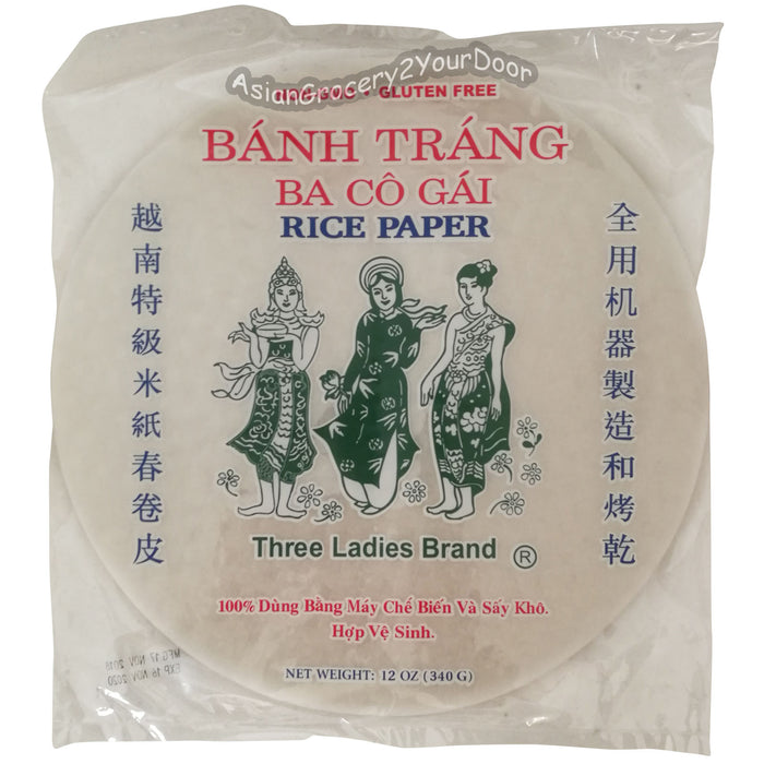 Three Ladies - Spring Roll Rice Paper Wrapper - 12 oz / 340 g - Asiangrocery2yourdoor