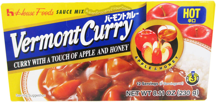 House Foods - Vermont Curry Hot Sauce Mix - 8.11 oz / 230 g - Asiangrocery2yourdoor