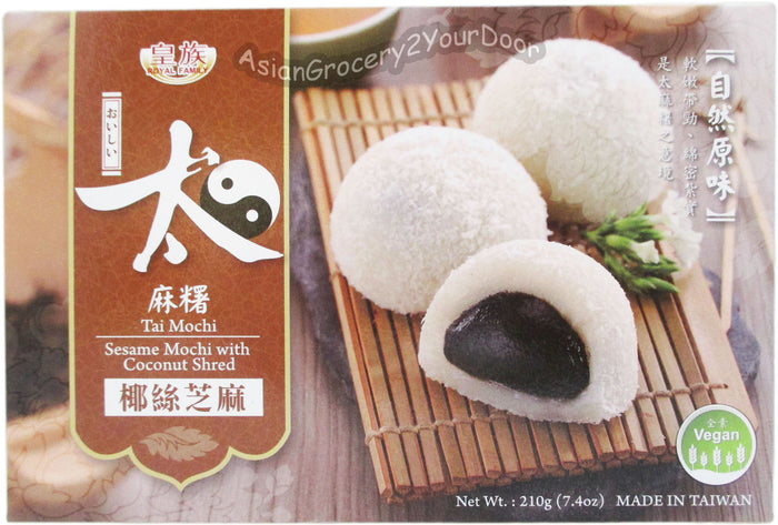 Royal Family - Sesame Mochi with Coconut Shred - 7.4 oz / 210 g - Asiangrocery2yourdoor