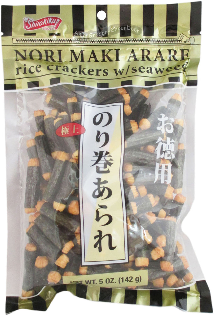 Shirakiku - Nori Maki Arare Rice Crackers with Seaweed - 5 oz / 142 g - Asiangrocery2yourdoor