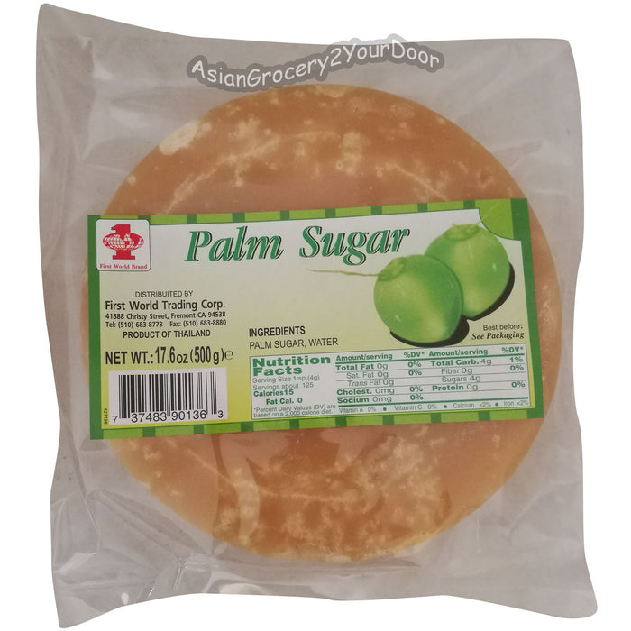 First World Brand - Palm Sugar - 17.6 oz / 500 g - Asiangrocery2yourdoor