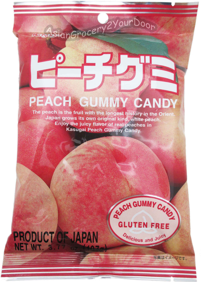 Kasugai - Peach Gummy Candy - 3.77 oz / 107 g - Asiangrocery2yourdoor