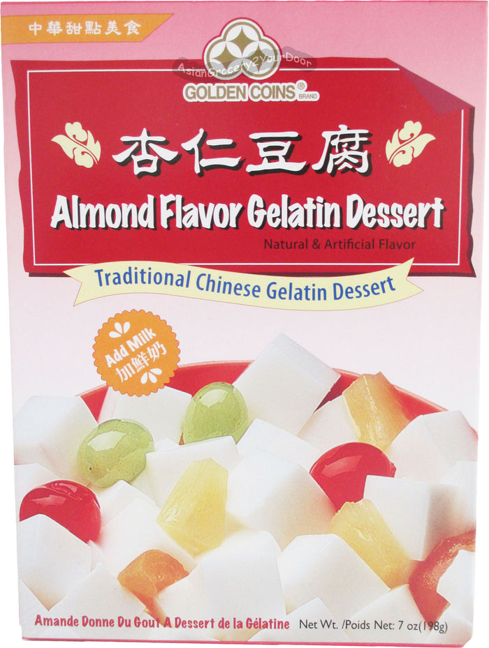 Golden Coins - Almond Flavor Traditional Chinese Gelatin Dessert - 7 oz / 198 g - Asiangrocery2yourdoor