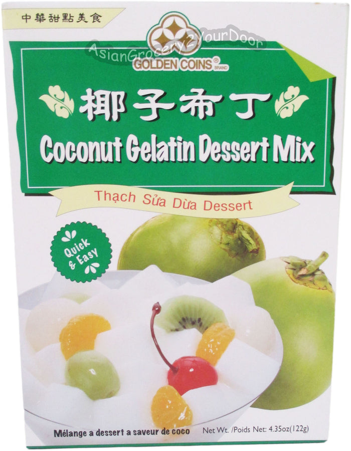 Golden Coins - Coconut Gelatin Dessert Mix - 4.35 oz / 122 g - Asiangrocery2yourdoor